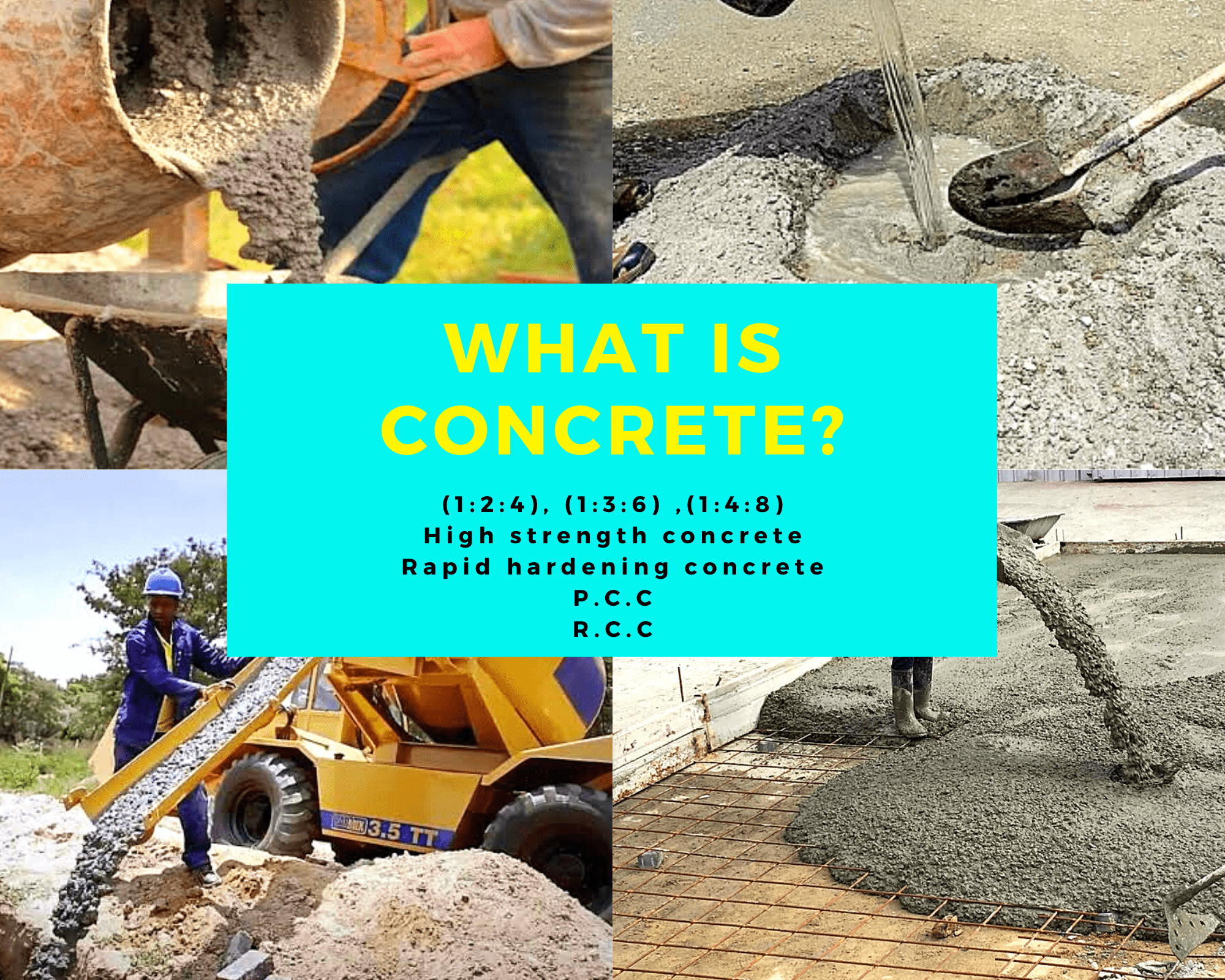Concrete types and its ingredients
