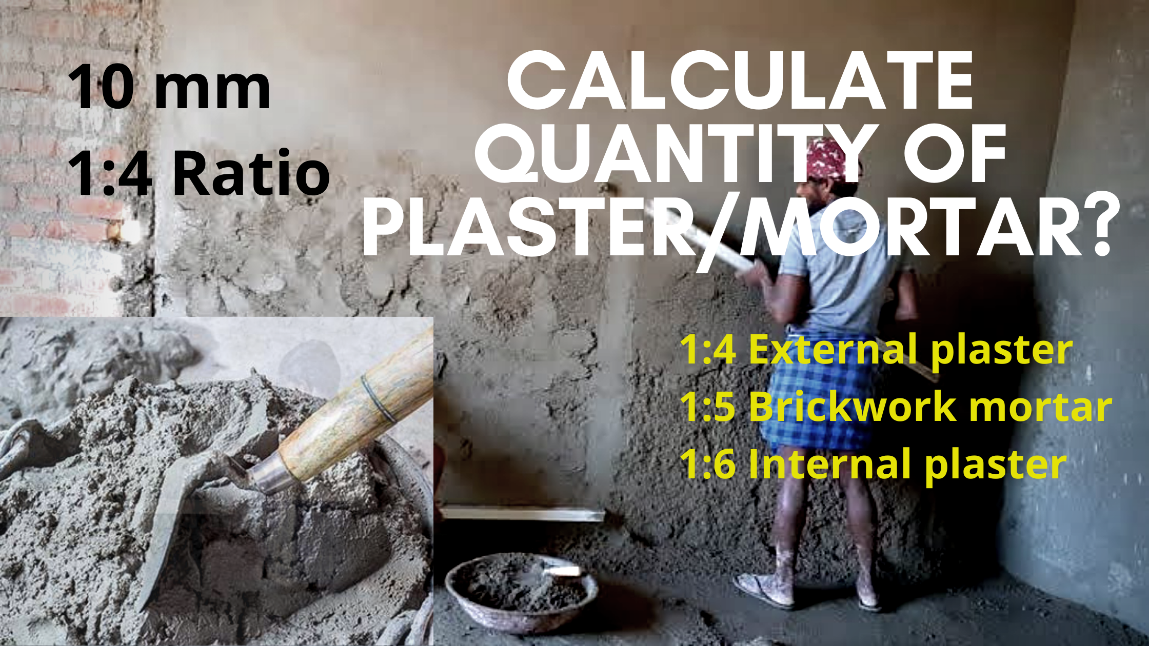 How to calculate plaster and mortar quantity