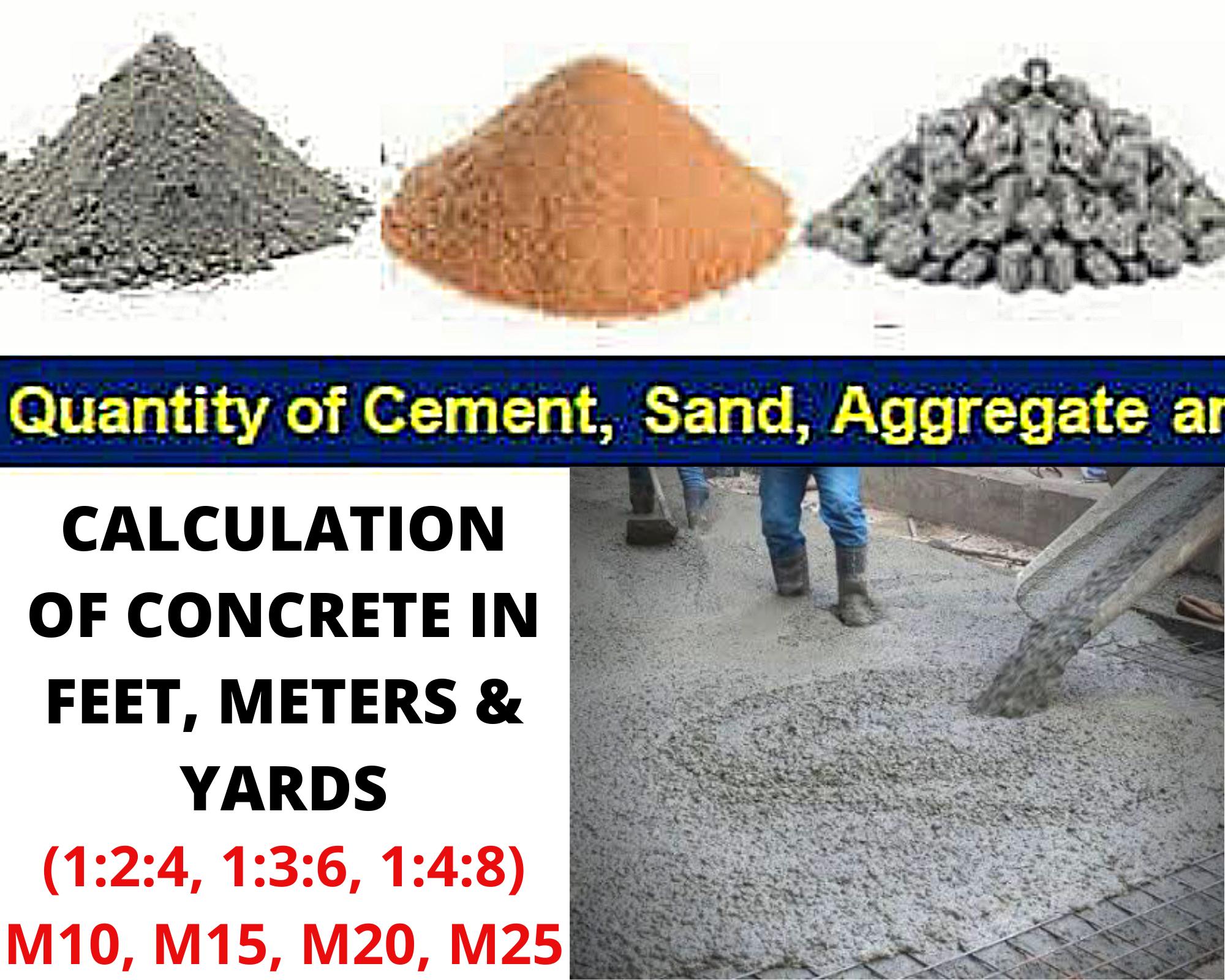calculate cement, sand, aggregate in concrete