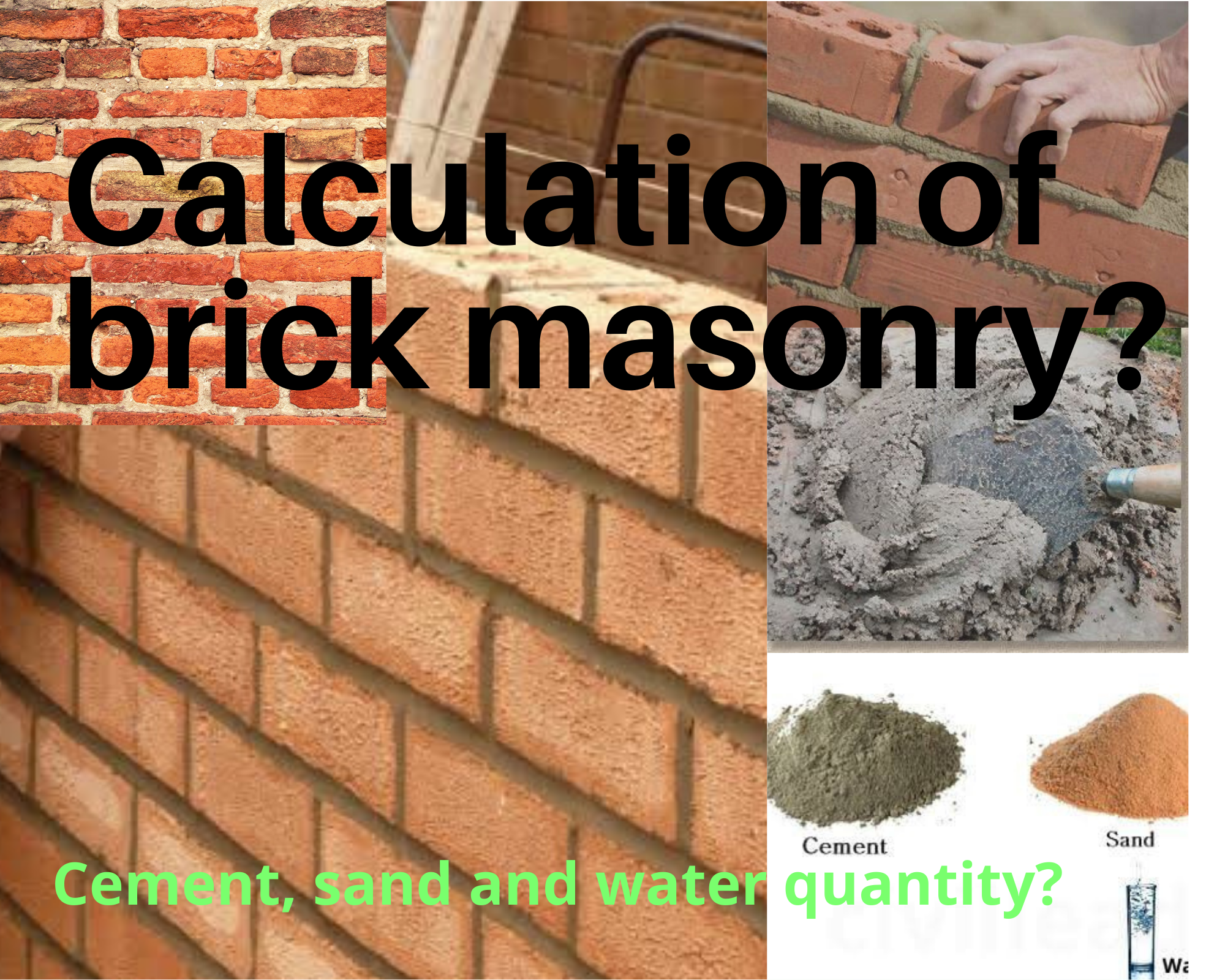 How to calculate brick masonry & mortar cement, sand?