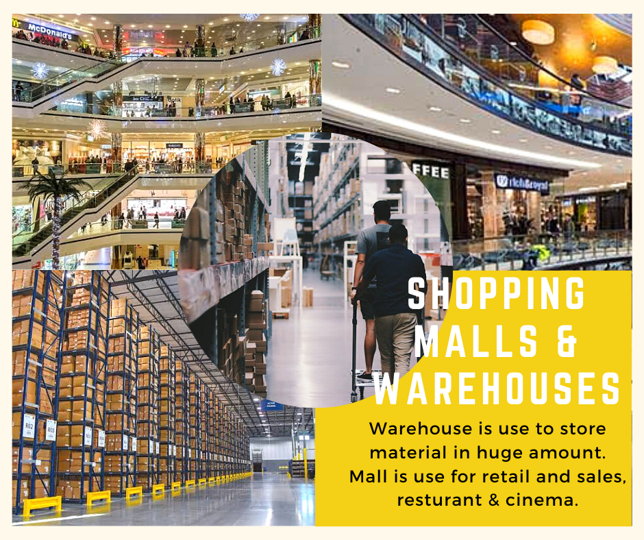 Warehouses and shopping malls