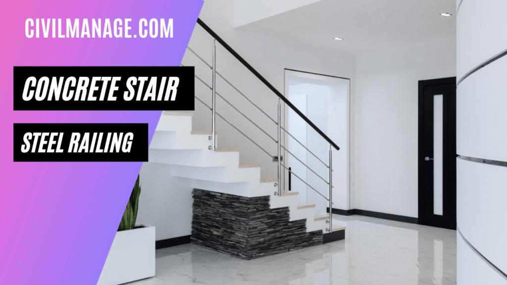 Concrete stair & steel railing