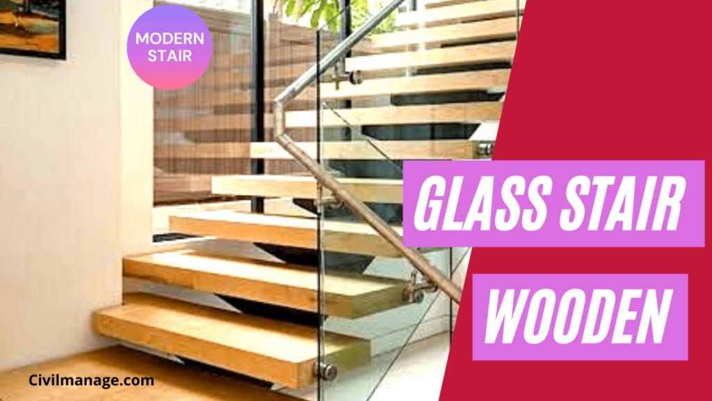 Glass stair railing, wooden stair design