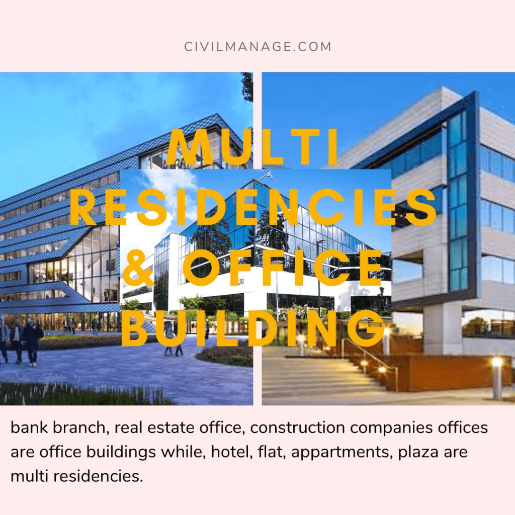 Office buildings and multi residencies