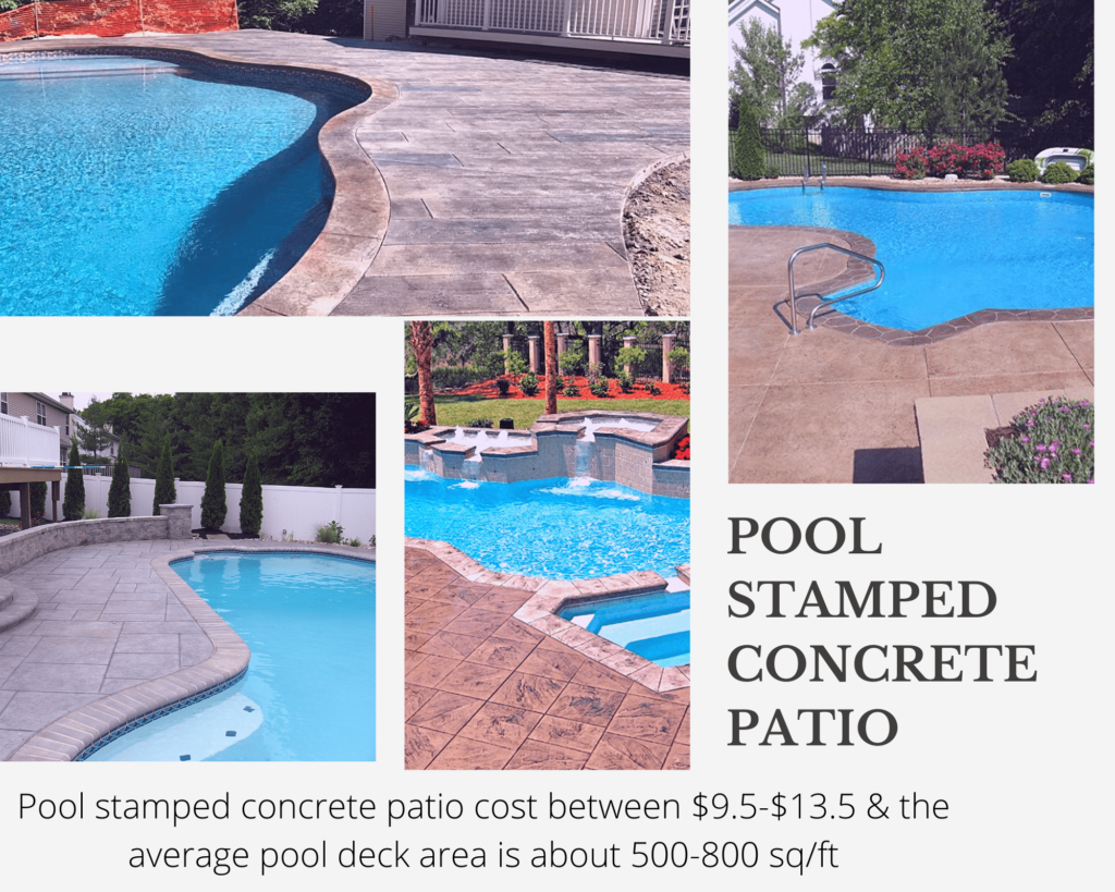 Pool deck concrete patio
