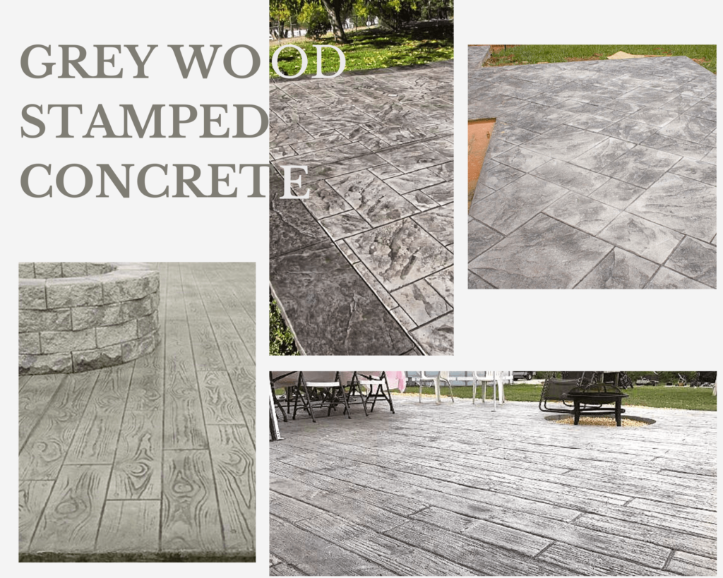 grey wood stamped concrete